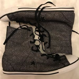 Converse one stars gray sparkle glitter high top.
